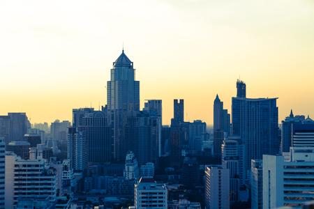 Bangkok skyline at sunset Panorama.