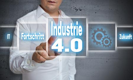 industrie 4.0 (en alemán industria, el progreso, el futuro) del concepto del fondo de la pantalla táctil.
