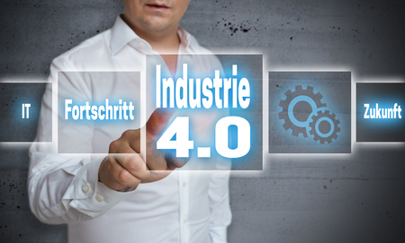 industry: industrie 4.0 (in german industry, progress, future) touchscreen concept background. Stock Photo