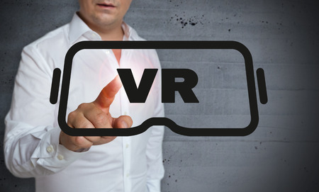 touchscreen: virtual reality touchscreen is operated by man