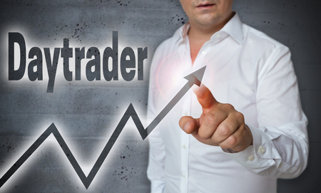 touchscreen: daytrader touchscreen is operated by man. Stock Photo