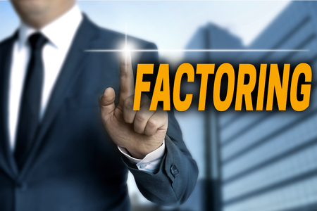 the requirement: Factoring touchscreen is operated by businessman. Stock Photo