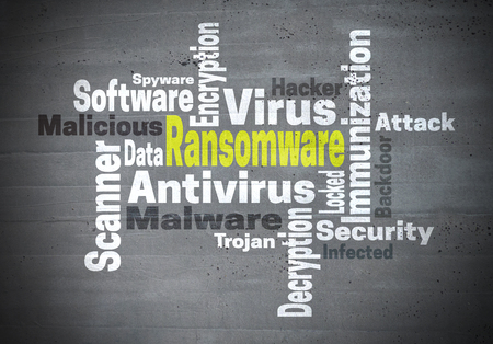 Ransomware antivirus immunization word cloud concept.