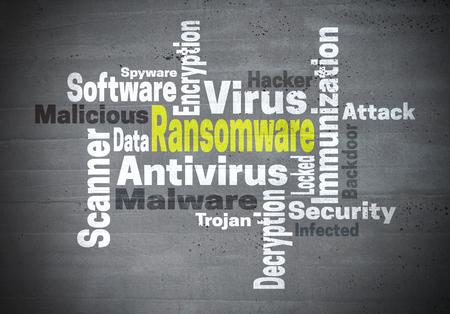 ransom: Ransomware antivirus immunization word cloud concept.
