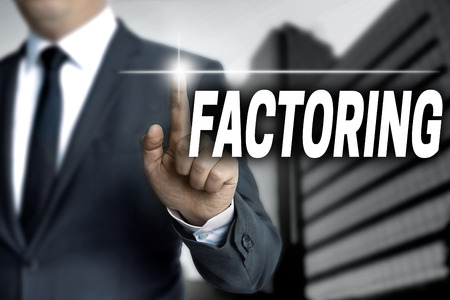 liquidity: Factoring touchscreen is operated by businessman. Stock Photo