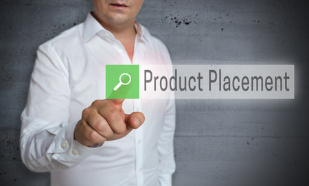 product placement: Product Placement browser is operated by man concept. Stock Photo