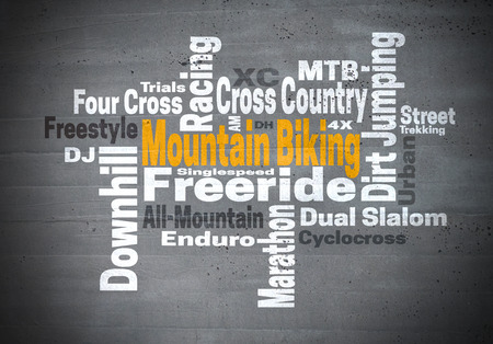 mountainbiking: Mountain Biking Freeride Downhill word cloud concept.