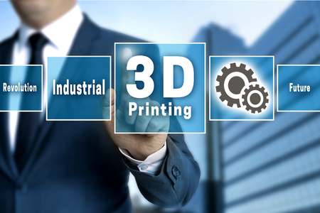 3d Printing touchscreen is operated by businessman.