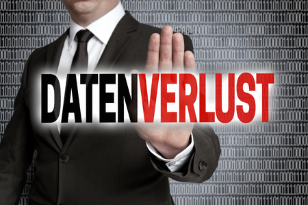 data loss: datenverlust (in german data loss) with matrix is shown by businessman.