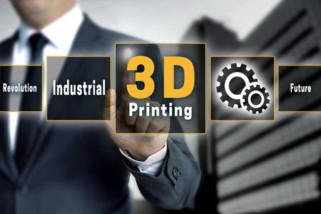 3 d 印刷のタッチ スクリーンは、ビジネスマンによって運営されます。 写真素材