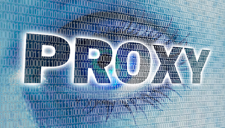 proxy: Proxy eye with matrix looks at viewer concept. Stock Photo