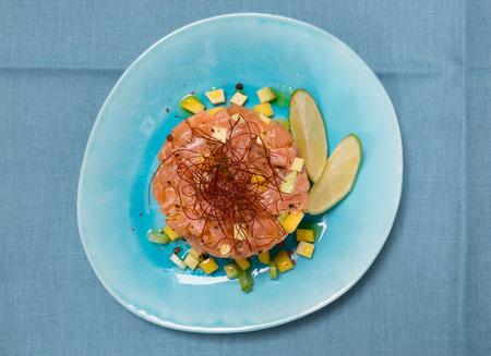 seperation: Tatar of salmon with avocado and mango.