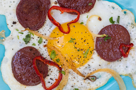 kangal: Sucuk turkish garlic sausage with egg.