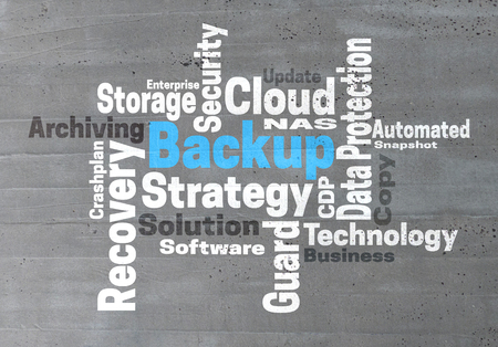 wordcloud: Backup Strategy wordcloud concept: Stock Photo