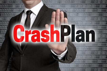 forbade: Crashplan with matrix is shown by businessman.