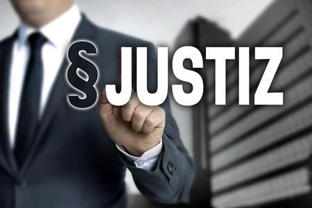 paragraf: Justiz (in german Justice) is shown by businessman.