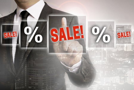 copied: SALE Businessman with city background concept. Stock Photo