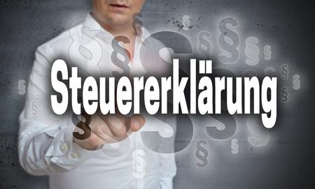 Steuererklaerung (in german Tax declaration) is shown by man concept.