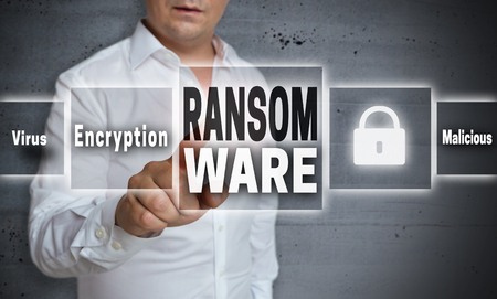 Ransomware concept background is shown by man.