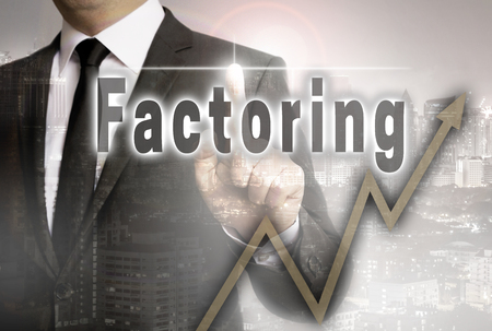 Factoring is shown by businessman concept. Standard-Bild