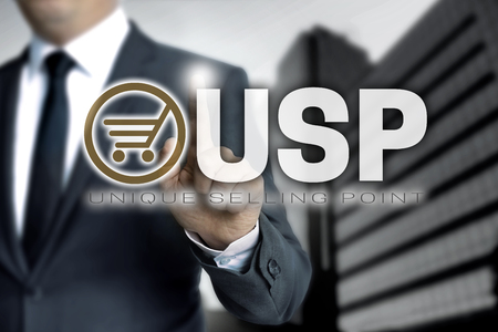 USP touchscreen is operated by businessman. Stock Photo