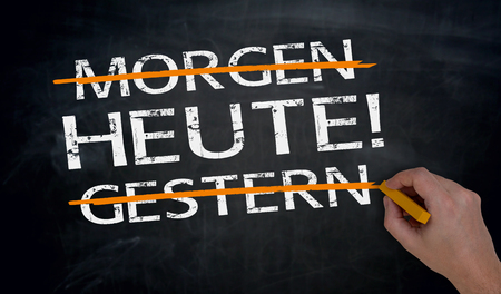 Heute, Morgen, Gestern (in german) Today, tomorow, yesterday is written by hand on blackboard.
