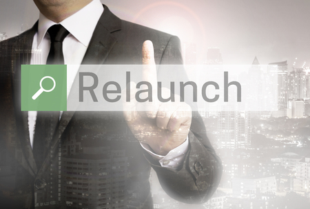 Relaunch browser with business man and city concept. Stock Photo