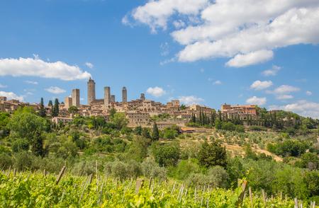 Panoramic view of San Gimignano Tuscany Italy.