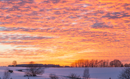 Winter landscape with sunset in Rhineland-Palatinate germany.