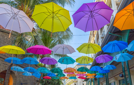 Port louis waterfront umbrellas capital of mauritius.