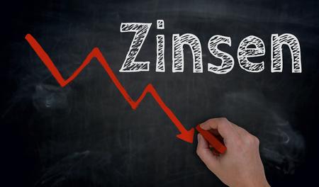 Zinsen (in german Interest) and graph is written by hand on blackboard.