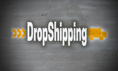 Dropshipping on concrete wall background concept.