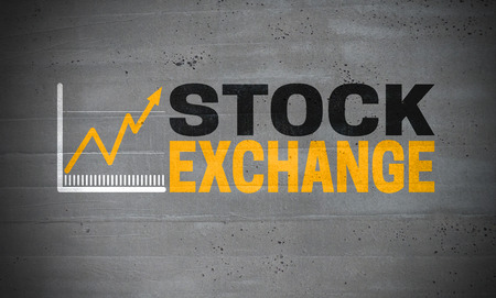 Stock Exchange logo on concrete wall concept background.