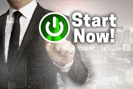 Start Now is shown by businessman concept.