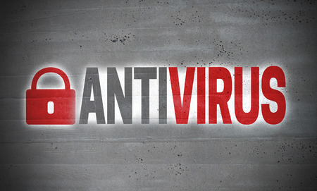 Antivirus on concrete wall concept background.