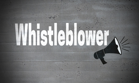 Whistleblower on concrete wall concept background.