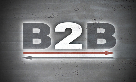 B2B on concrete wall background. Stok Fotoğraf