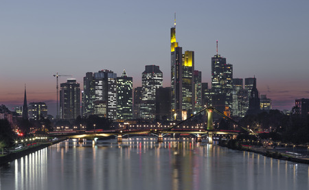 Frankfurt am Main skyline at night Hesse Germany.