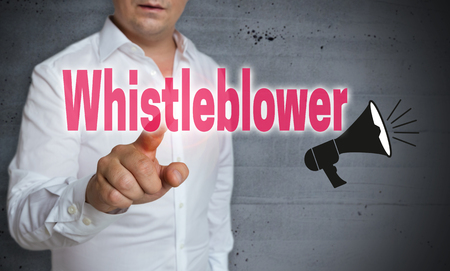 Whistleblower touchscreen is operated by man.