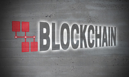 Blockchain icons on cement concept.