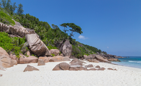 Petite Anse beach on La Digue Seychelles.