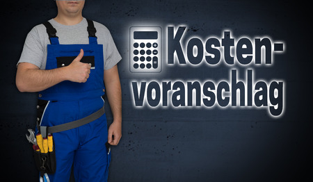 Kostenvoranschlag (in german quotation) with calculator and craftsman with thumbs up.