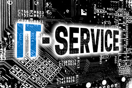 IT service with circuit board concept background.