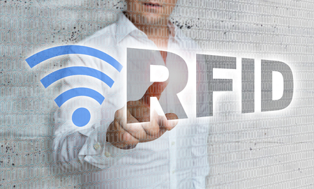 RFID with matrix and businessman concept.