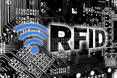RFID with circuit board concept background.