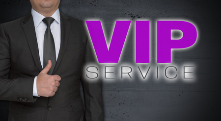 VIP service concept and businessman with thumbs up.