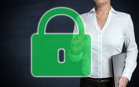 U-lock touchscreen is shown by businesswoman. Stock Photo