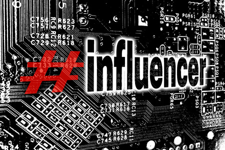 Influencer with circuit board concept background. Stock Photo
