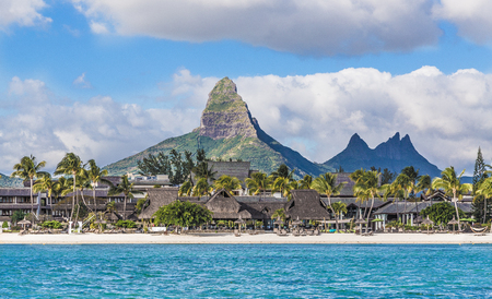 Flic en flac beach with Piton de la Petite Riviere Noire Mauritius. Reklamní fotografie