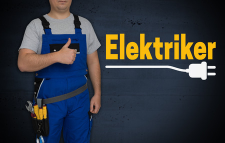 Elektriker (in german Electrician) and craftsman with thumbs up. Standard-Bild